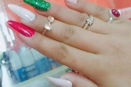 Acrylic-Extension-With-Pink-Green-3D-Flowers-Migliore-Nails-Nail-Art-in-Kathmandu-Nepal-1