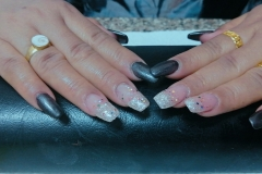 Gel Nail Extension ( White Glitter ,Colorful Glitter, Shining Grey)