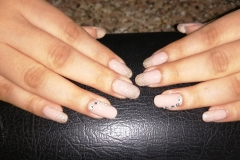 Gel Nail, Nude Color, Golden Glitter Stone