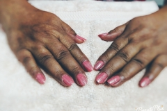 Gel Nail Pink and White Simmer