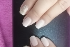 Nude Off White Gel Polish, Golden Glitter on Natural Nail