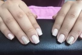 Nude-Off-White-Gel-Polish-Golden-Glitter-on-Natural-Nail-Nail-Art-in-Kathmandu-Nepal-Migliore-Nails-2