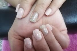 Nude-Off-White-Gel-Polish-Golden-Glitter-on-Natural-Nail-Nail-Art-in-Kathmandu-Nepal-Migliore-Nails-3