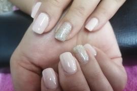 Nude-Off-White-Gel-Polish-Golden-Glitter-on-Natural-Nail-Nail-Art-in-Kathmandu-Nepal-Migliore-Nails-4
