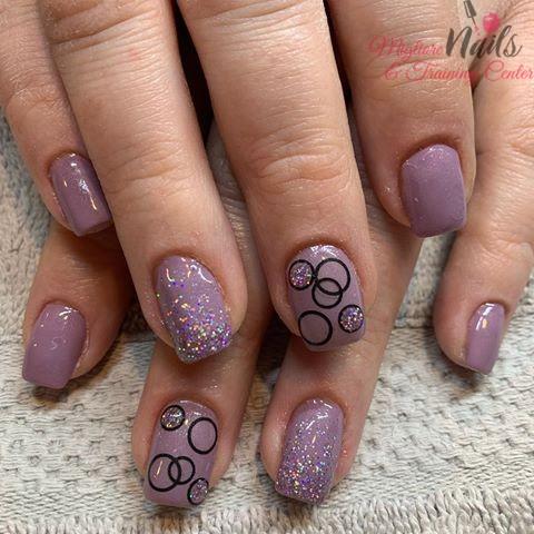 Lavender Circles Nail Art - Nail Art in Kathmandu Nepal - Migliore Nails