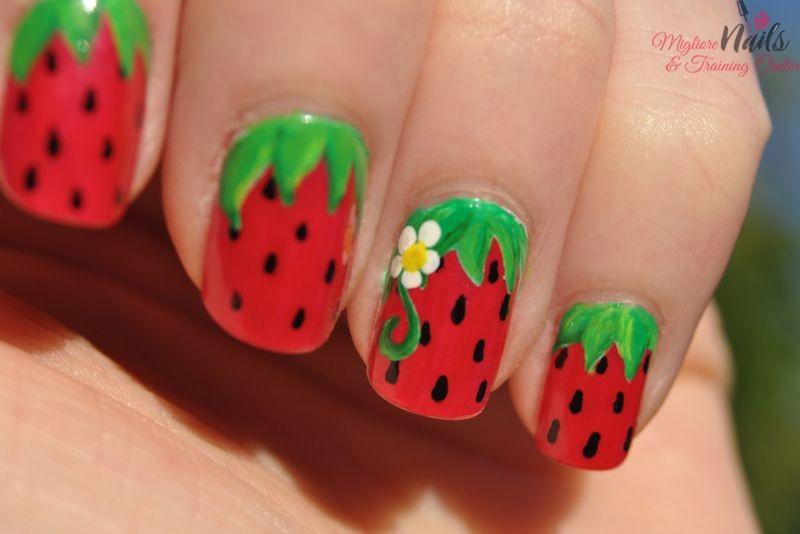 Strawberry Nail Art Design - Nail Art in Kathmandu Nepal - Migliore Nails